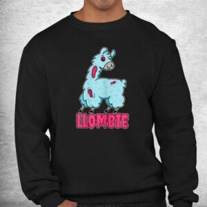 llombie lazy halloween costume spooky zombie llama pun shirt 2