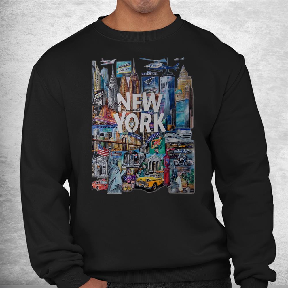 New York Skyline Heartbeat Statue Of Liberty I Love New York Shirt
