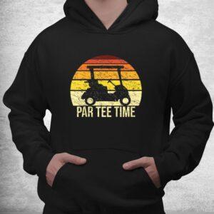 par tee time partee retro golfing cart funny golf player shirt 3