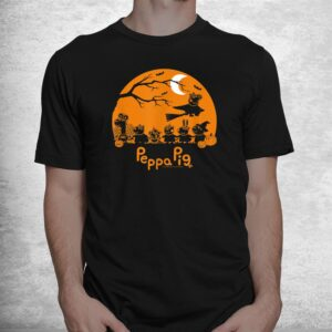 peppa pig halloween trick or treat nighttime silhouette shirt 1