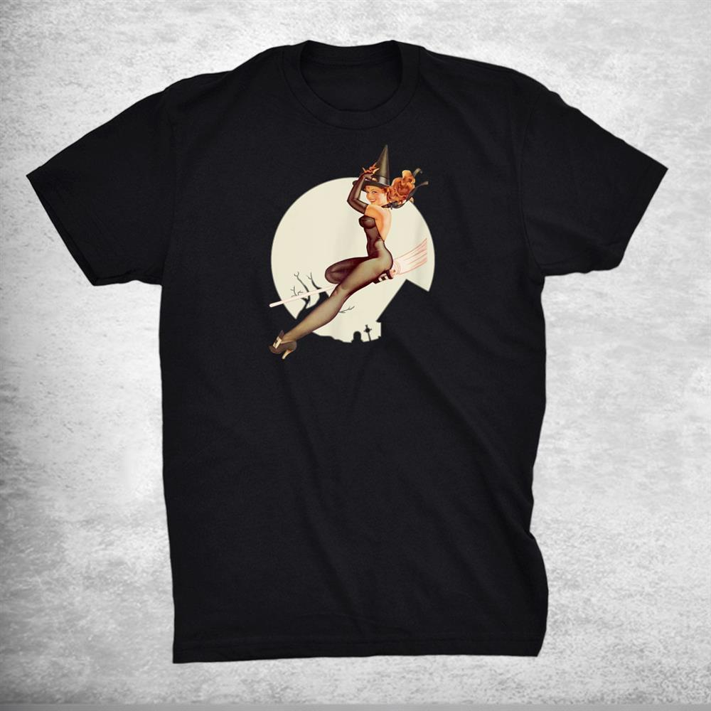 Pin Up Girl Witch Halloween Vintage I Shirt
