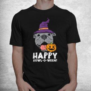 pitbull witch happy howl o ween pumpkin halloween pittie dog shirt 1