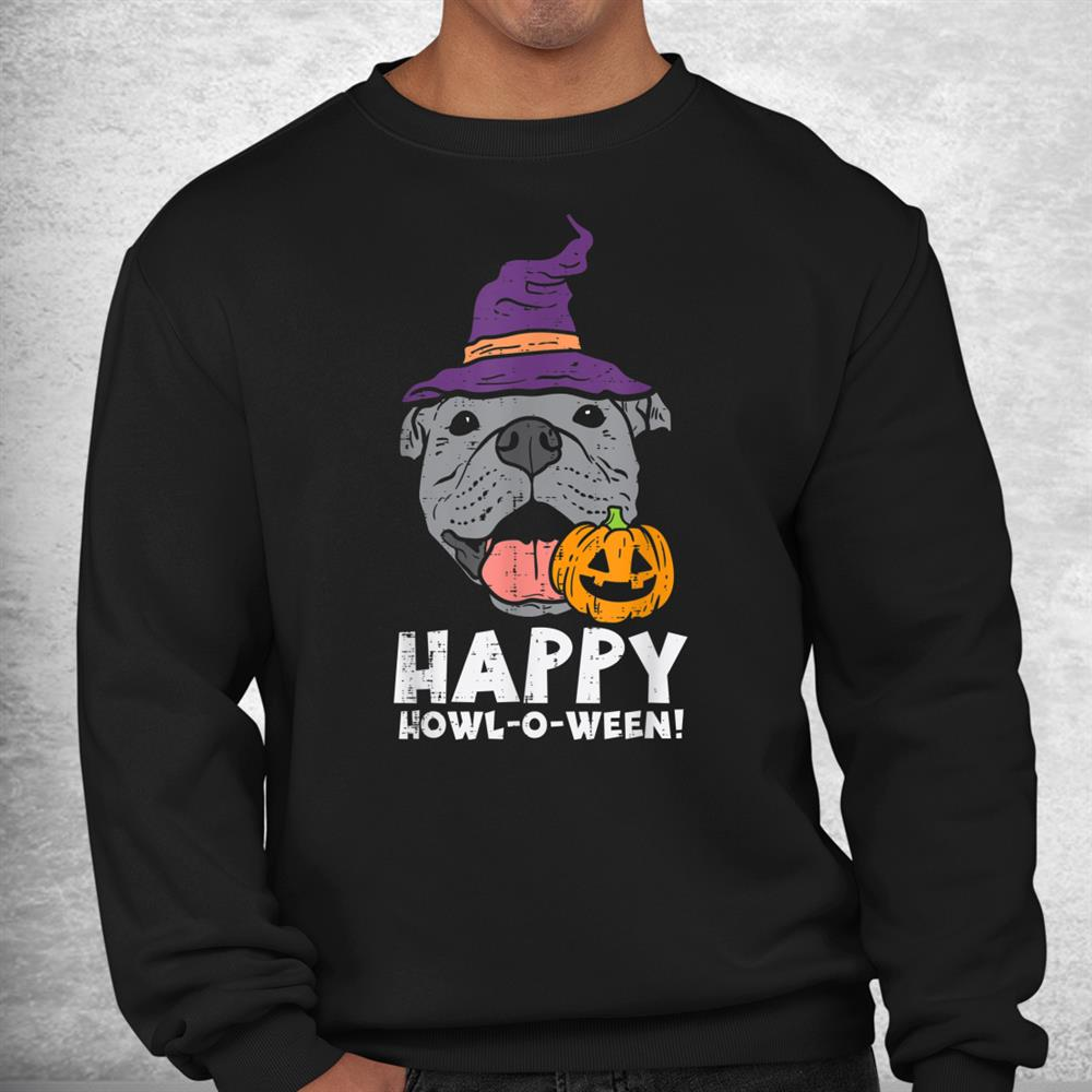 Pitbull Witch Happy Howl O Ween Pumpkin Halloween Pittie Dog Shirt