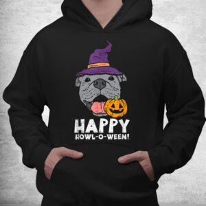 pitbull witch happy howl o ween pumpkin halloween pittie dog shirt 3