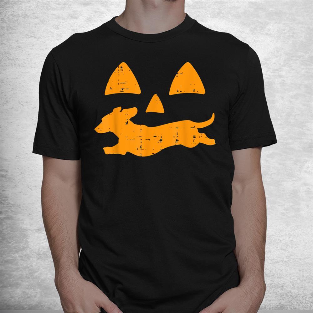 Pumpkin Eyes Dachshund Funny Halloween Jack O Lantern Dog Shirt