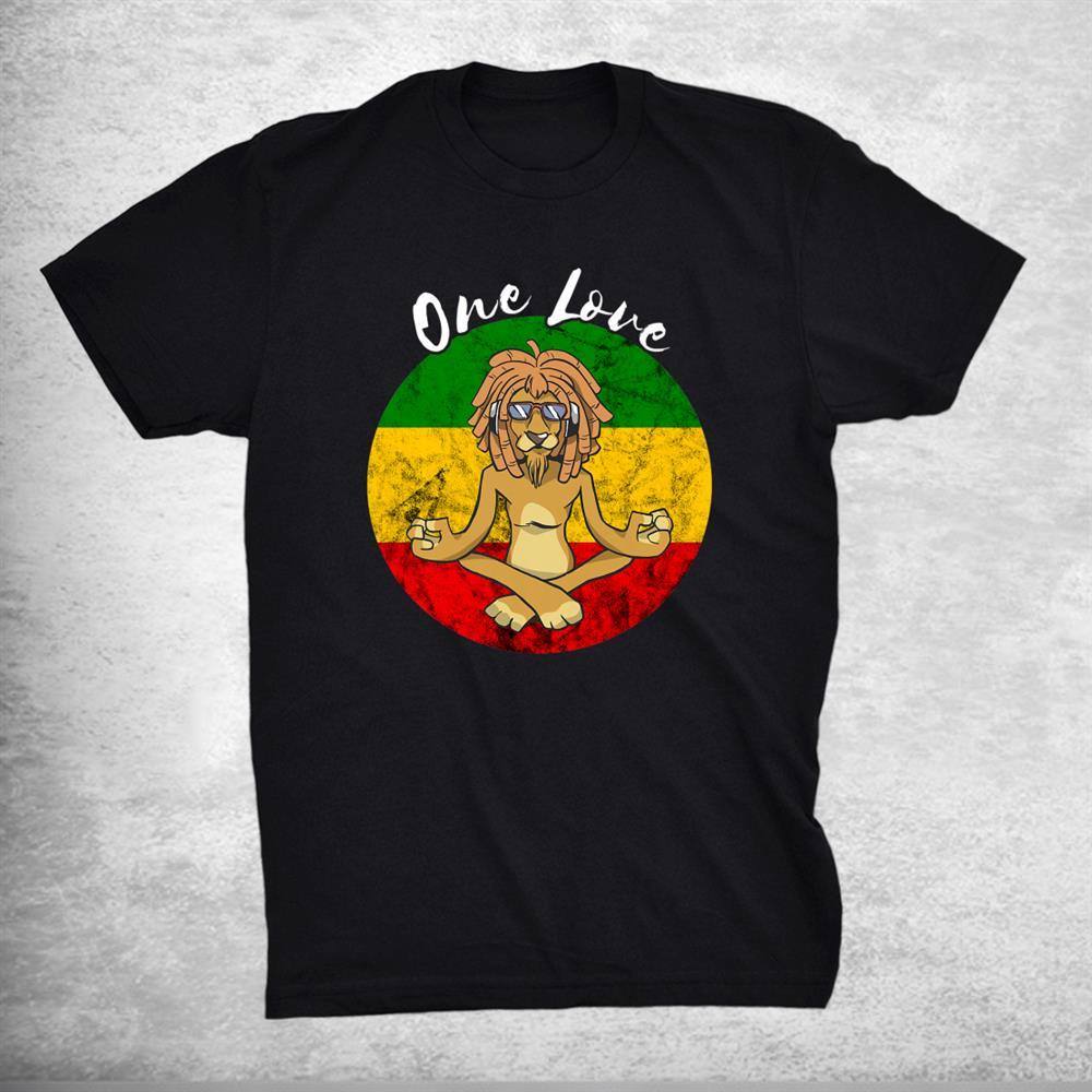 Rasta Reggae One Love Meditation Lion Rastafarian Lover Shirt