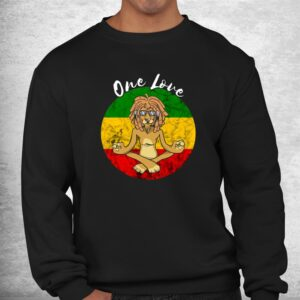 rasta reggae one love meditation lion rastafarian lover shirt 2
