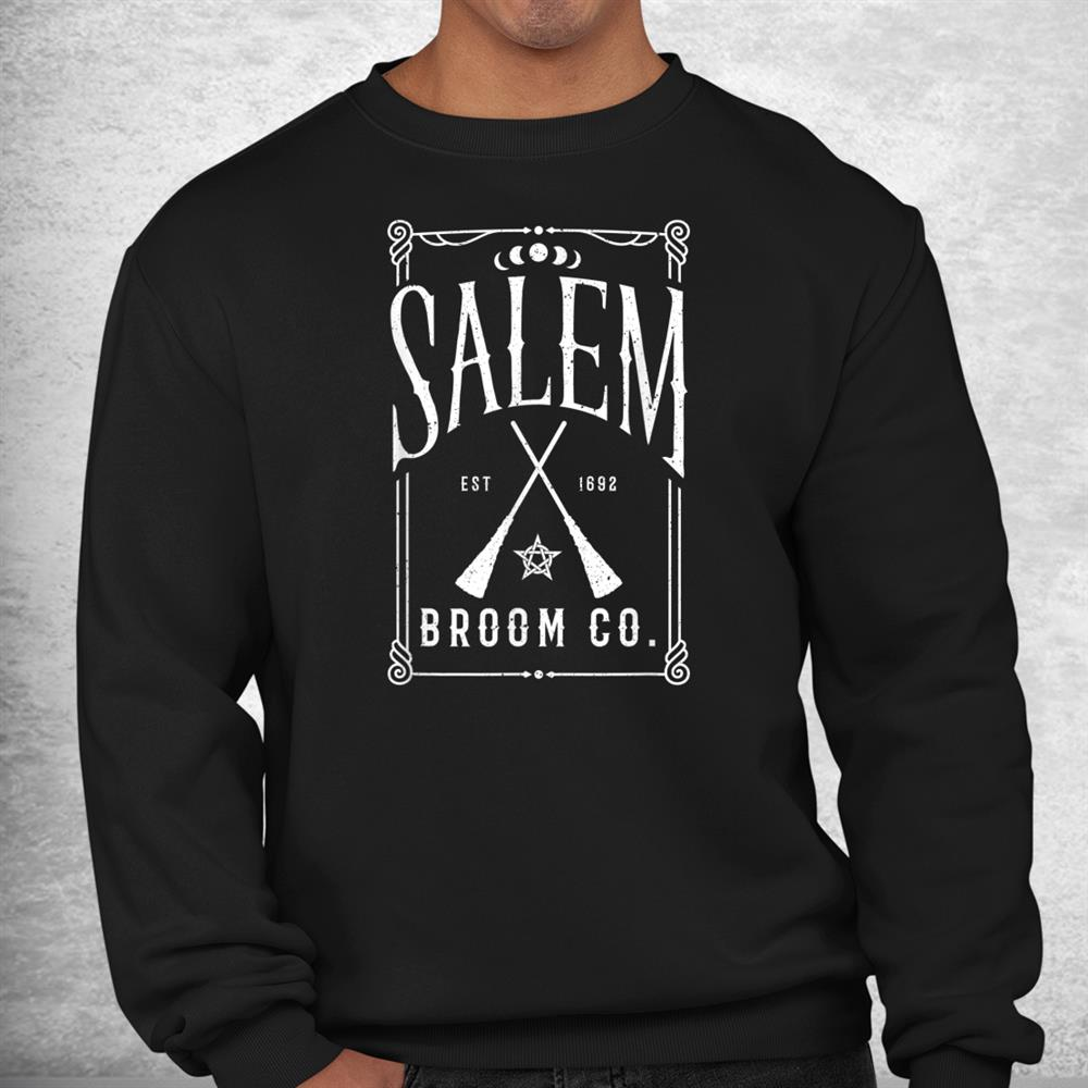 Salem Broom Co Cute Witch Trials 1692 Womens Halloween Shirt
