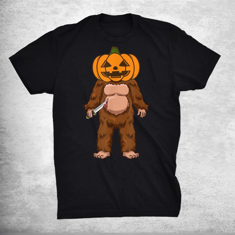 Scary Bigfoot Sasquatch Pumpkin Head Halloween Costume Shirt