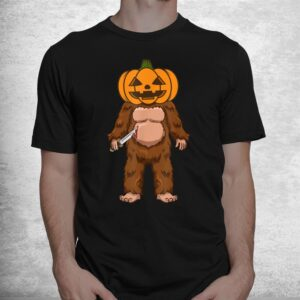 scary bigfoot sasquatch pumpkin head halloween costume shirt 1