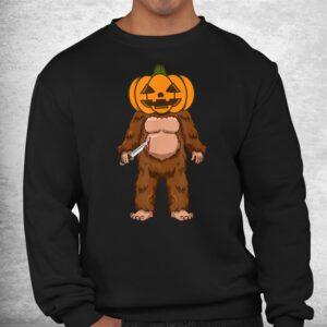 scary bigfoot sasquatch pumpkin head halloween costume shirt 2