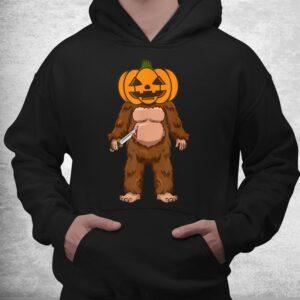 scary bigfoot sasquatch pumpkin head halloween costume shirt 3