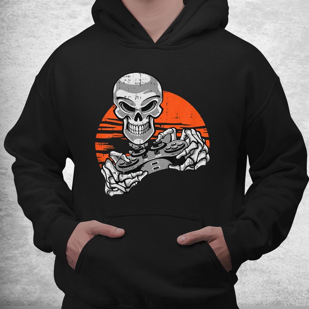 Skeleton Gamer Halloween Costume Playing Video Games Gaming Shirt