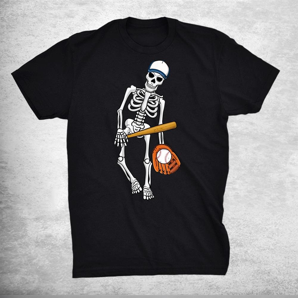 Skeleton Playing Baseball Lazy Halloween Costume Funny Sport Shirt