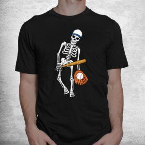 skeleton playing baseball lazy halloween costume funny sport shirt 1