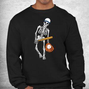 skeleton playing baseball lazy halloween costume funny sport shirt 2