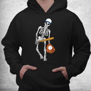 skeleton playing baseball lazy halloween costume funny sport shirt 3