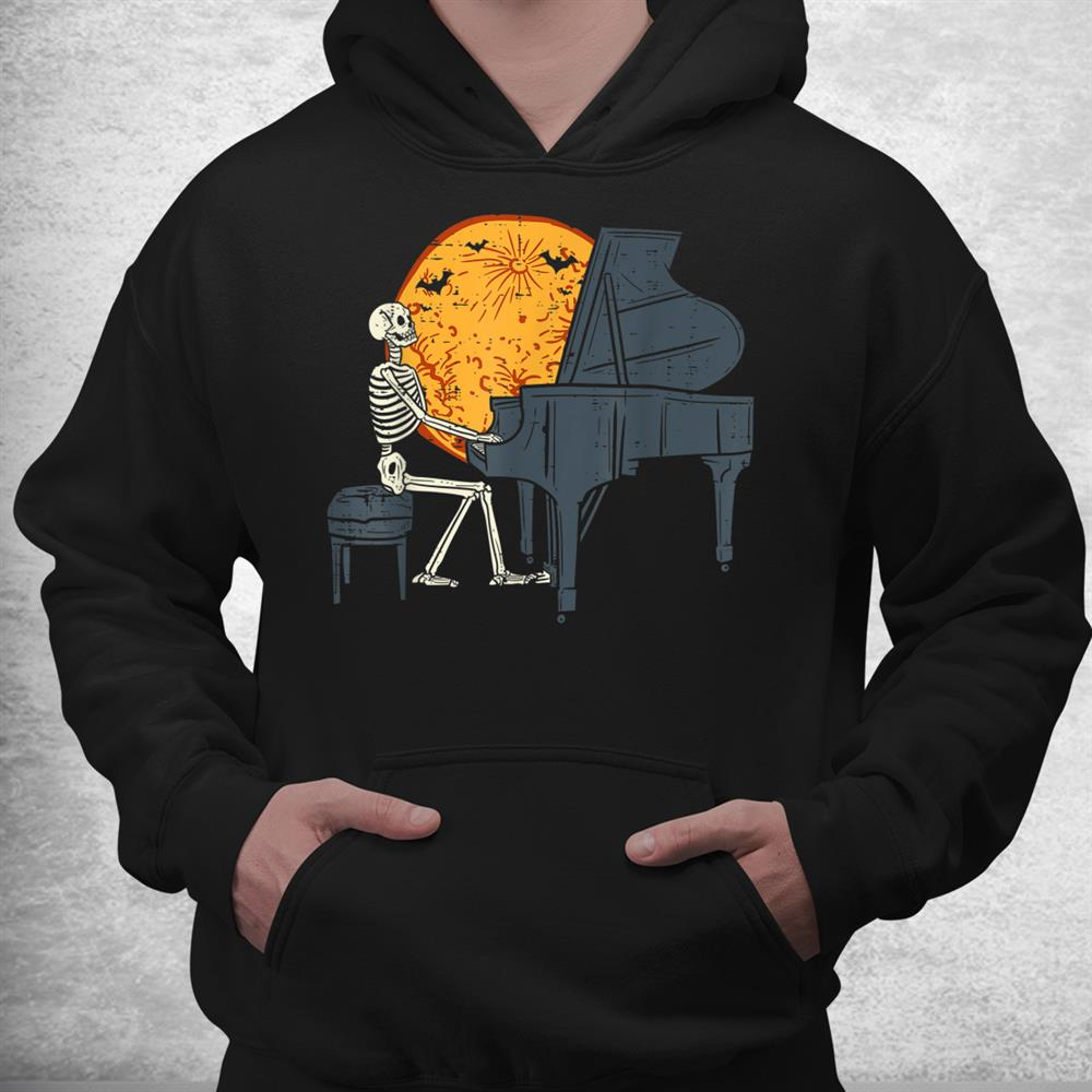 Skeleton Playing Piano Moon Halloween Music Shirt