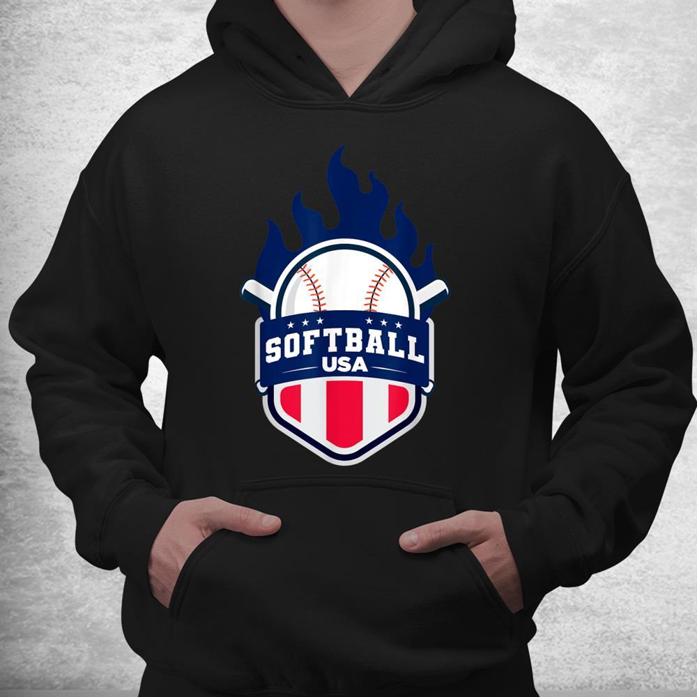 Softball Usa Support The Team Tshirt Usa Flag Shirt