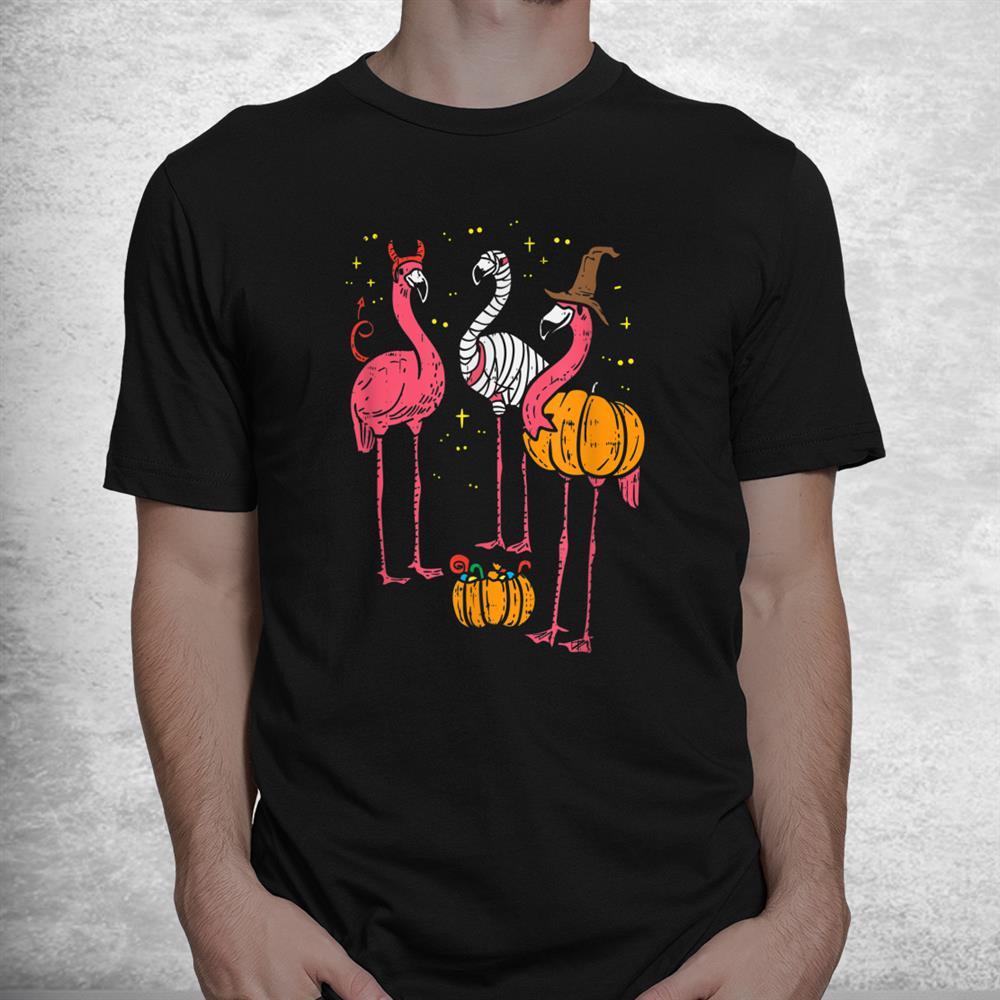 Spooky Flamingo Trio Funny Halloween Shirt