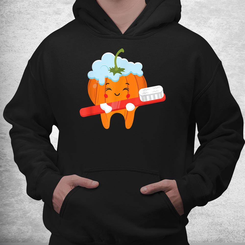 Tooth Brush Pumpkin Lazy Diy Halloween Costume Funny Dental Shirt