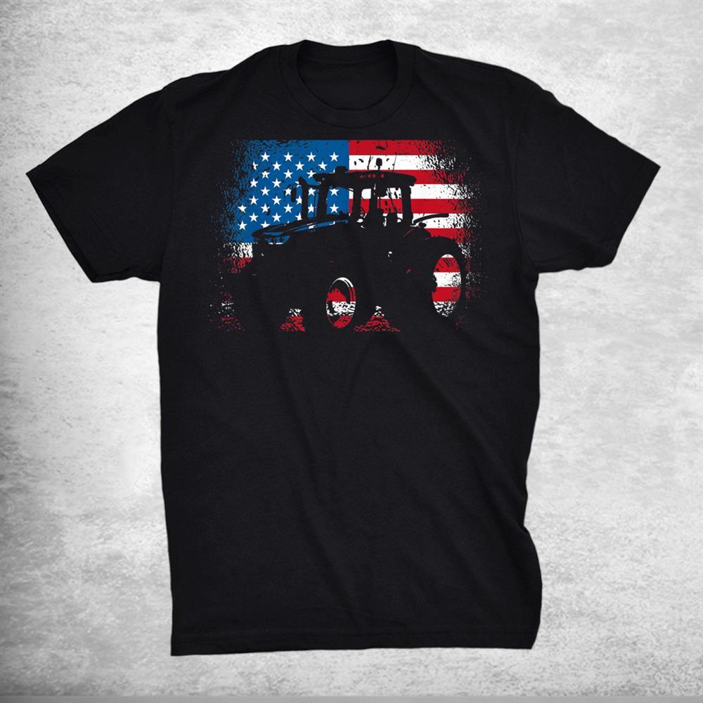 Tractor Usa Flag Design For Patriotic Farmer Shirt