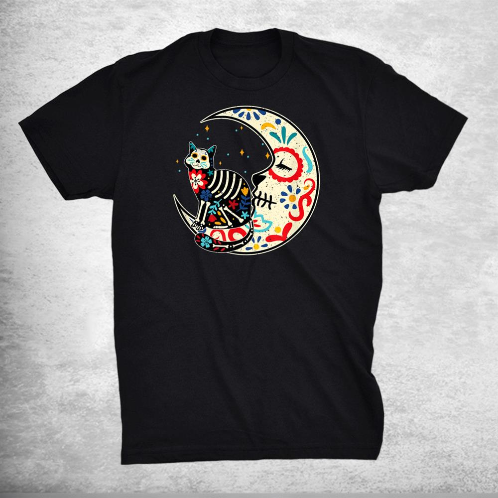 Traditional Day Of The Dead Mexico Cute Cat Moon Sugar Skull Shirt