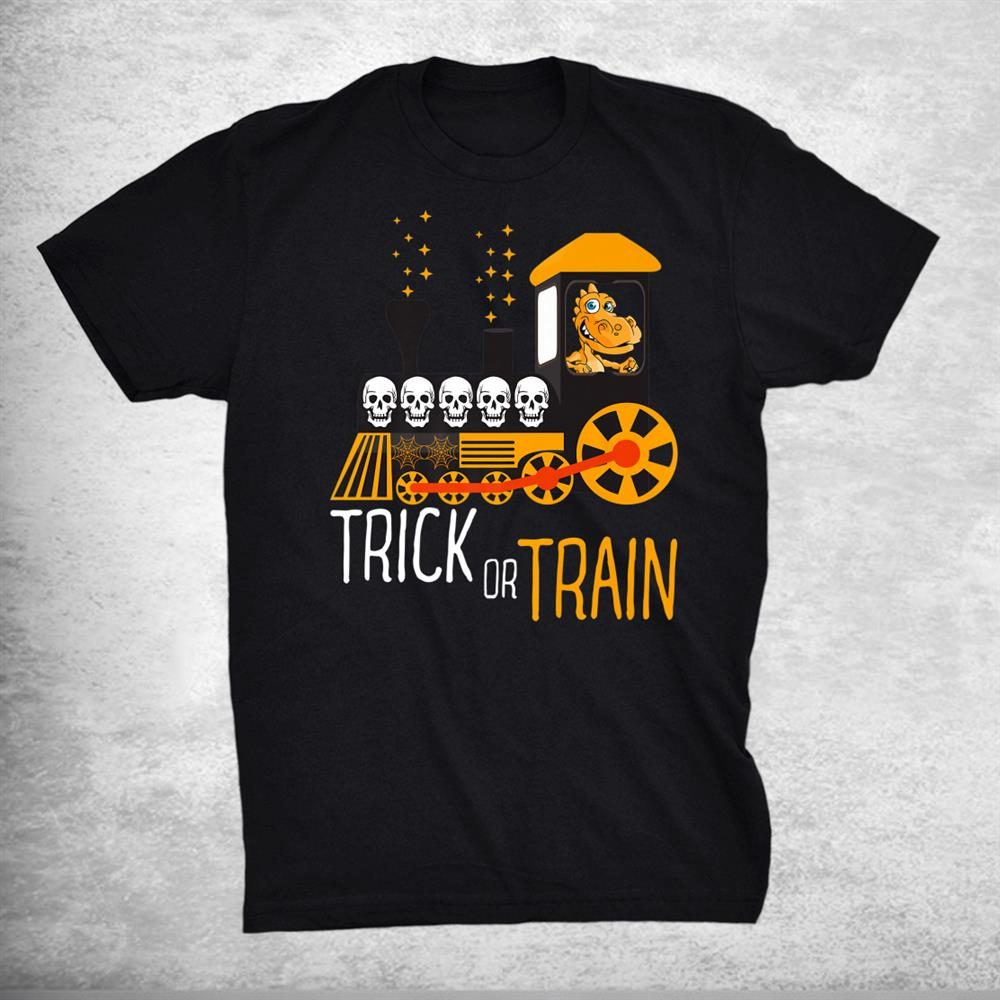 Trick Or Train Halloween Dinosaur Riding Train Funny Shirt