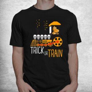 trick or train halloween dinosaur riding train funny shirt 1