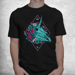 unicorn skullvaporwave halloween shirt 1