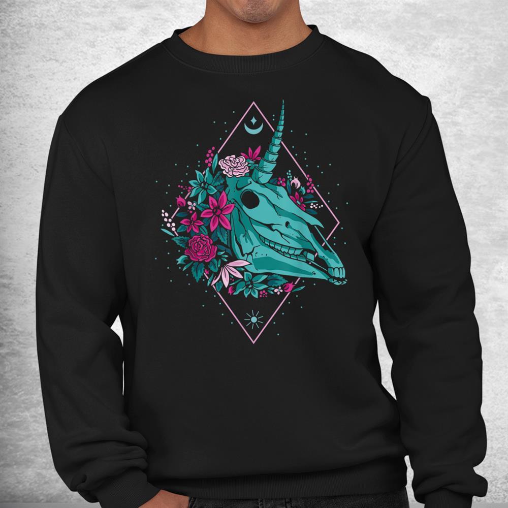 Unicorn Skullvaporwave Halloween Shirt