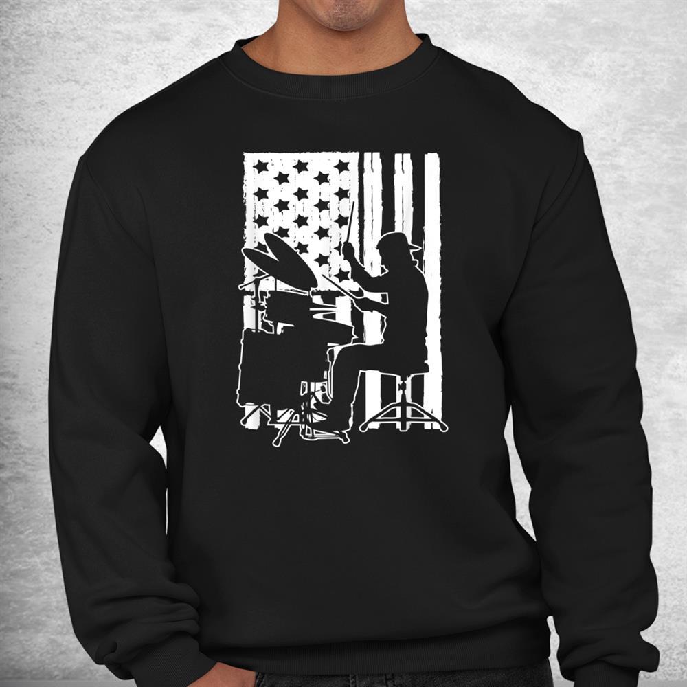 Usa American Flag Drumming Music Lovers Theme Drummer Shirt