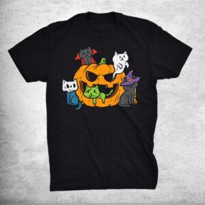 Vampire Ghost Zombie Witch Cats In Pumpkin Cute Halloween Shirt