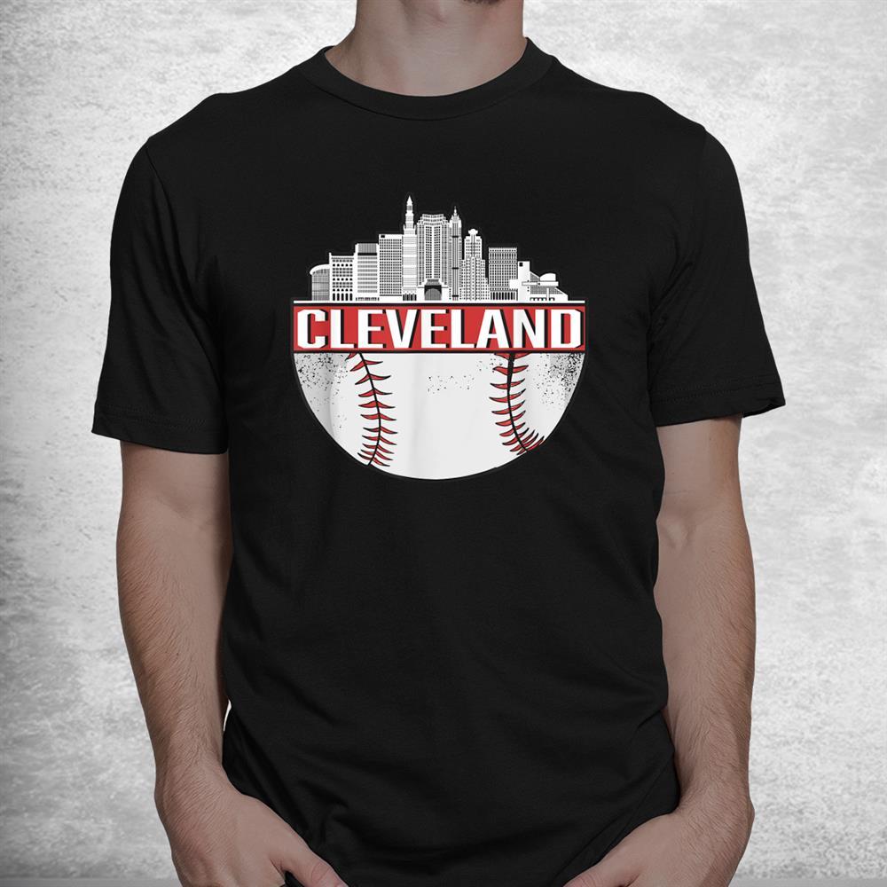 Vintage Cleveland Baseball Skyline Cityscape Retro Baseball Shirt