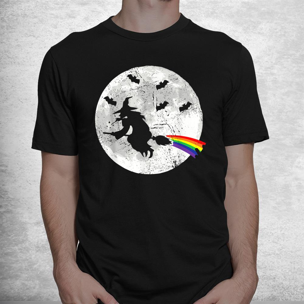 Witch Rainbow Witch Broom Lesbian Witch Pride Halloween Shirt